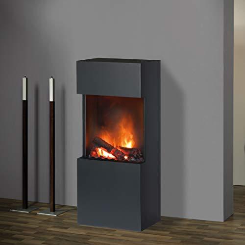 Muenkel Design Flip [Elektrische open haard Opti-Myst Warmte ]: Zwart-Grijs - zonder verwarming - Alu-Flamebed (Zwart) - zonder stenen