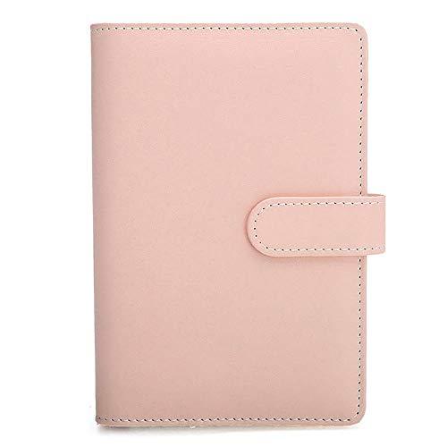 SENRISE - Taccuino ricaricabile, formato A5, con copertina in pelle morbida, raccoglitore ad anelli, con tasche per diario di viaggio personalizzato fatto a mano, rosa