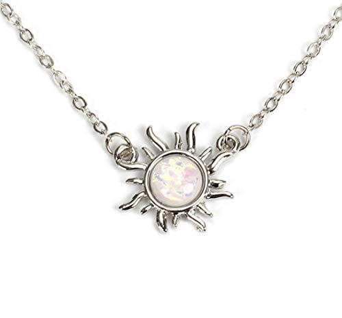 DD. store Halskette weiblich, Sonnenblume Anhänger Halskette Opal Schlüsselbein Kette,Silver