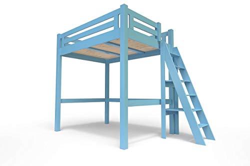 ABC MEUBLES - hoogslaper Alpage met ladder - Alpagech - blauw poeder, 160 x 200