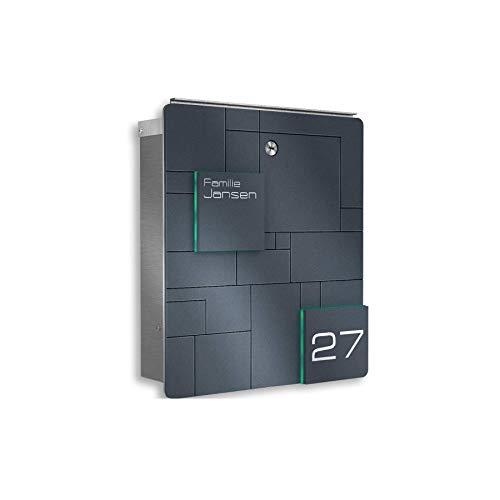 Metzler Design Briefkasten aus Edelstahl - inkl. Gravur - Anthrazit RAL 7016 - Wand-Montage - Größe: 33 x 38,5 x 11 cm