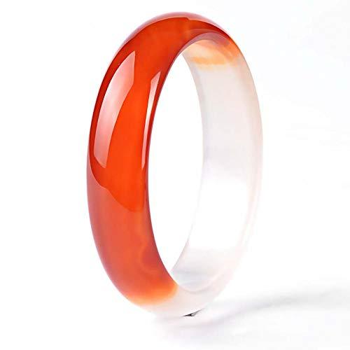 YDJGY Natürliches Jade Armreif Armband für Frauen Retro Chinesischer Stil Elegante Damen Klassische Natürliche Rote Achat Jade Armreif (58-62mm)