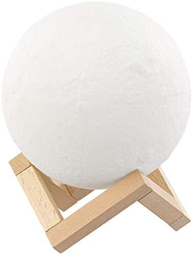 Lunartec Lámpara de Luna: Lámpara de Luna Decorativa con LED, Operación táctil, Paquete de baterías, 3 Colores, Ø 15 cm (LED Luna lámpara)