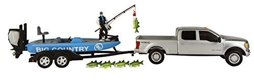 Big Country Toys Bass Fishing Set - 1:20 Scale - Ford F250 Super Duty - Bass Boat with Evinrude Motor - Accessory Pack - 11 Pieces Toy Set