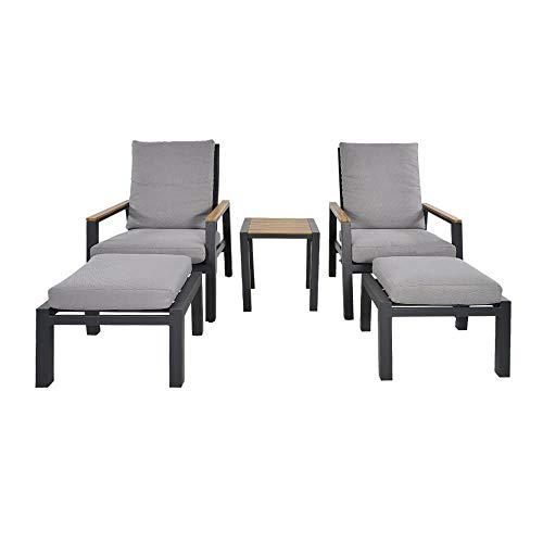 Sedie Lounge con Sgabello e Tavolo in Alluminio - Salotto Elto/Antracite