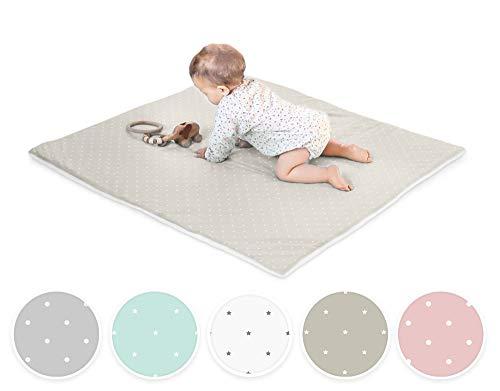 Ehrenkind® Krabbeldecke Baby mit Bio-Baumwolle | 100x100cm | OEKO-TEX Kuscheldecke Unisex | Taupe weiße Sterne