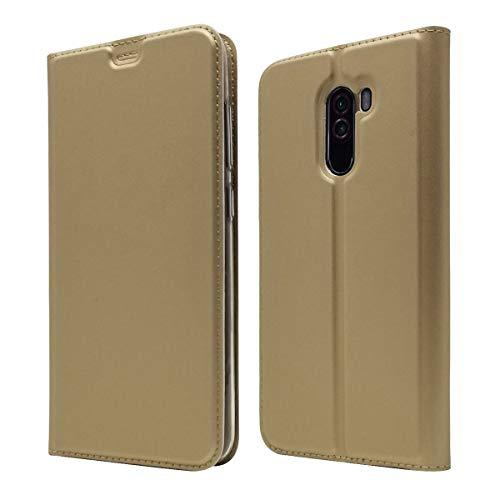 Cavor Luxuriöse Optik Brieftasche mit Kartenfächern, Lederhülle, Flip-Cover, Lederhülle, automatischer Magnetverschluss, faltbare Handyhülle für Xiaomi Poco F1, Gold