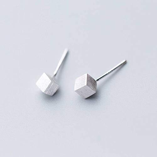 WOZUIMEI S925 Pendientes de Plata Estilo Coreano Femenino Pendientes Cuadrados Cepillados Simples Cuadrados Geométricos de Moda