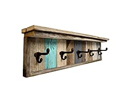 Reclaimed barn wood coat rack and shelf with word Explore on it, photo