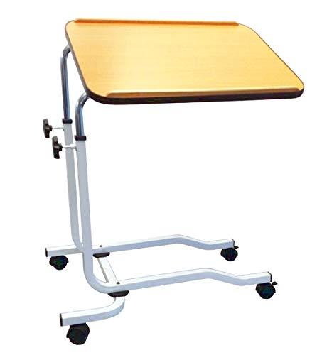 FabaCare Beistelltisch, Betttisch höhenverstellbar, Pflegetisch auf Rollen, sehr stabil, Tisch für Bett mit Neigung, Winkel verstellbar, Braun