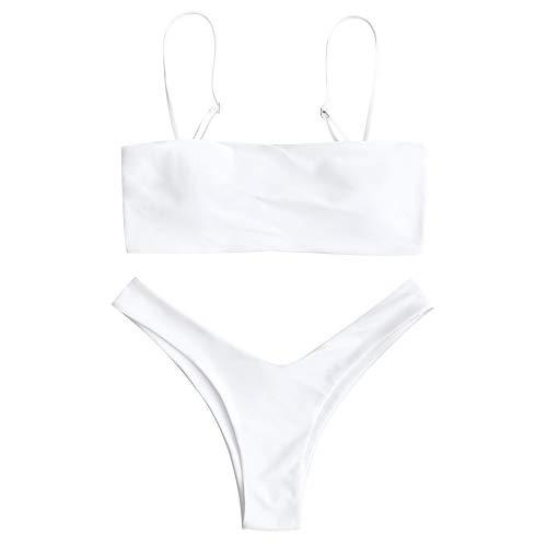 ZAFUL Damen Gepolstert Bandeau Badeanzug Bikini Set Weiß L