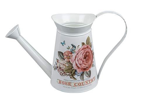 dekojohnson rustikale Deko-Gießkanne mit Rosendekor Deko-Zimmergießkanne Bauerngefäß Bauerndeko Deko-Garten-Gießkanne Landhaustil weiß rosa 34cm