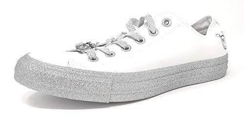 Converse Womens x Miley Cyrus Chuck Taylor All Star Lo Sneaker White/Pure Platinum/Black / 7.5 Mens / 9.5 Womens