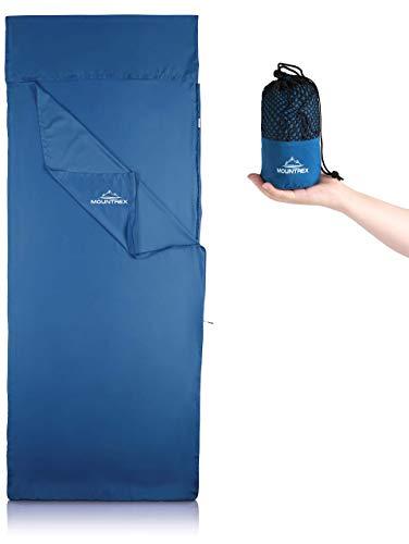 MOUNTREX® Hüttenschlafsack mit Druckknöpfe - Ultraleicht & Kompakt (280g) - Schlafsack Inlett, Inlay (220x90 cm) - Kleines Packmaß (18x7cm)