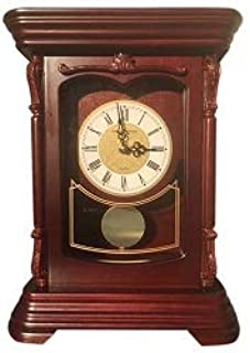 Vmarketingsite Mantel Pendulum Solid Wood Table Battery Operated. Quiet, Shelf Clock Westminster Chimes on The Hour, 9.9