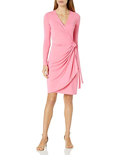Lark & Ro Women's Classic Long Sleeve Wrap Dress, Vivid Poppy, X-Large