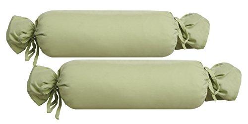 Biberna 0077144Jersey de para cojín cilíndrico de algodón 100%, 2Unidades, 15x 40cm Verde Pistacho, 27x 18x 2cm