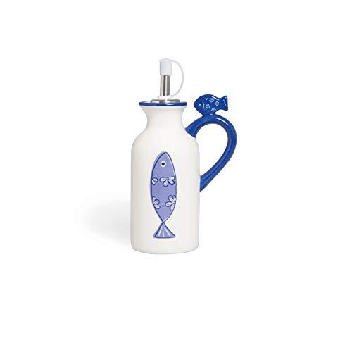 Excelsa Ocean Olie/Azijn Fles, Keramisch, Wit en Blauw, 150 ml