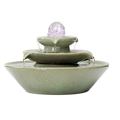 SVUZU Fontanna pokojowa, kamienna Fontanna na biurko, ceramiczna Fontanna na WOD?, 3-poziomowa, do sypialni, salonu, gabinetu (Color: niebieski)