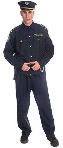 Dress-Up-America Police Costume For Adults - Shirt, Pants, Hat, Belt, Gun Holster and handcuffs Cop Set