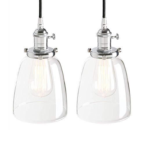 Candelabro retro candelabro colgante Edison cobre candelabro socket iluminación decorativa campana de vidrio (color: negro) (Color : Chrome)