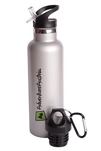 Edelstahl Trinkflasche Isoliert Sportflasche mit Strohhalm – BPA Frei Trinkflaschen Fahrrad Wandern etc. Auslaufsichere Metall Flaschen für Sport. Isolierflasche für Heiße & Kalte Getränke. 3 Größen.