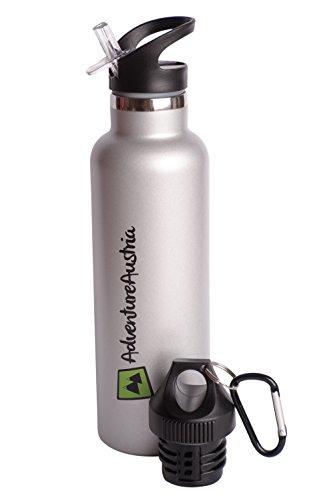 AdventureAustria Borraccia Termica Sport in Acciaio Inossidabile Bottiglia Inox - con Cannuccia e Coperchio Flip Top Antigoccia. Perfetta per Bevande Calde e Fredde. (750ml)
