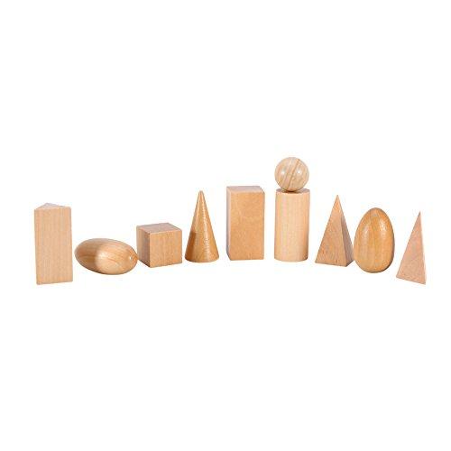 Aprendizaje Preescolar & Educación Juguetes Matemáticos Cognitivos Montessori De Madera Geométricas Formas Bloques Geometría De Sólidos Set 10pcs / set