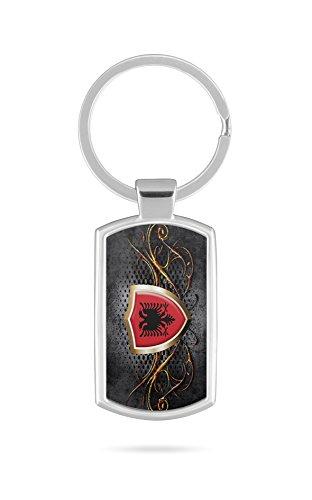 Schlüsselanhänger mit Gravur Wunschtext Name Albanien Fahne 4