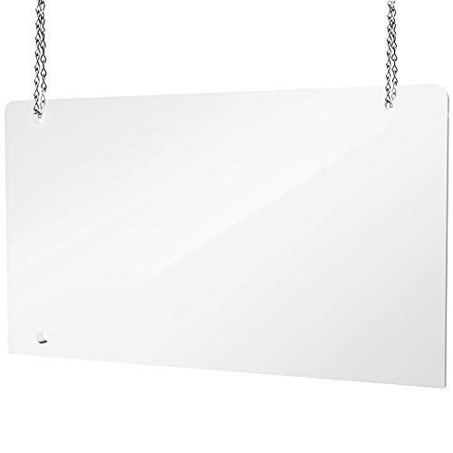 Hanging Protective Sneeze Guard Shield for Counter, Desk, Business and Customer Safety, Portable Plexiglass Barrier, Shield and Guard for Business, School. With Hanging Hardware. (48x32)