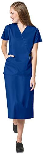 WonderWink WonderWork Women's Medical Uniforms Scrubs Set Bundle- 102 Mock Wrap Scrub Top & 701 Cargo Scrub Skirt & MS Badge Reel (Galaxy Blue - Medium/Medium)