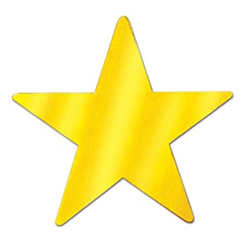 Beistle 57027-GD Gold Metallic Star Cutouts 3-1/2 Inch  Value 36-Pack