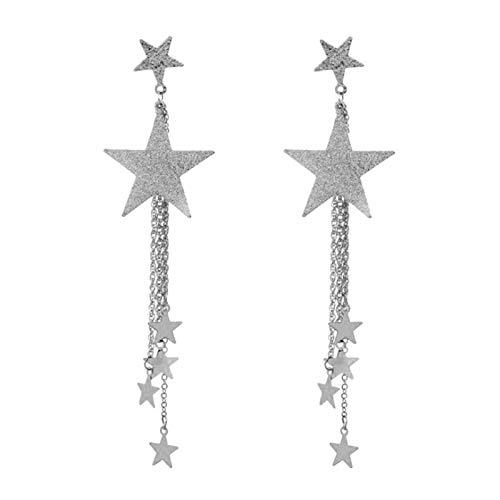 Ruby569y Pendientes colgantes para mujeres y niñas, de cinco puntas, con diseño de estrella larga y borla de tuerca, joyería de regalo – plata