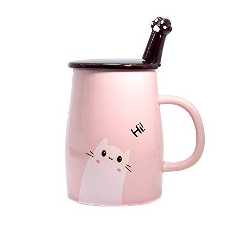 Taza Linda del Gato Taza de café de cerámica con Cuchara de Acero Inoxidable para Gatitos, Hola ~ Taza de café de la Novedad Regalo para los Amantes del Gato Rosado (Rosado)