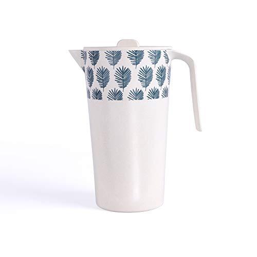 Sapkan sappot bamboevezel 1,7 liter pot wit (karaf, limonade, met deksel, camping servies)