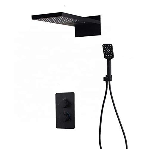KANJJ-YU Juego de grifo de ducha termostático negro para ducha de mano montado en la pared, fácil instalación (grifo de baño y ducha: juego) cromado