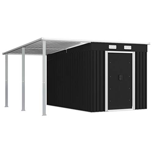 vidaXL Garden Shed With Extended Roof Outdoor Patio Tool Storage House Garage Carport With Shutters Log Shed Anthracite 336x270x181cm Steel