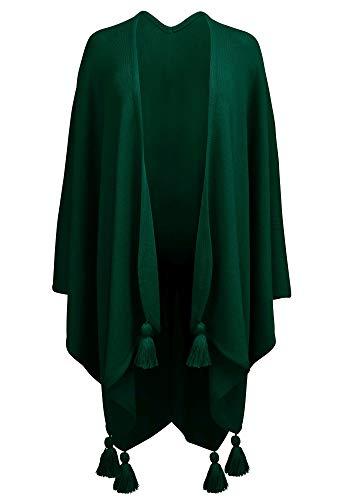 Hans Moser Poncho Cape Umhang Stola groß Wetterfleck grün dunkelgrün Merino-Wollmischung Schultertuch Trachten-Tuch Trachtenumhang Damen StrickponchoTrachtenponcho gestrickt Überwurf Schal