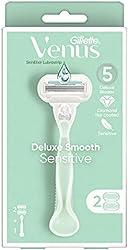 Venus Gillette Venus Deluxe Smooth Sensitive Women'S Razor Handle + 2 Refills, 2 count