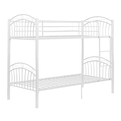 Panana Strong Metal Bunk Beds 3FT Single Metal Bunk Beds Frame for Children (Model2 White)