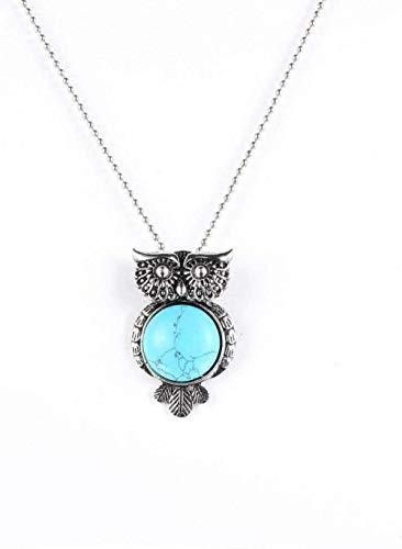 NC188 Collares Pendientes de Piedra para Mujer Vintage búho Envuelto Piedra Natural Ronda turquesas Collar Colgante de Cristal con Cadena de Plata Mujeres
