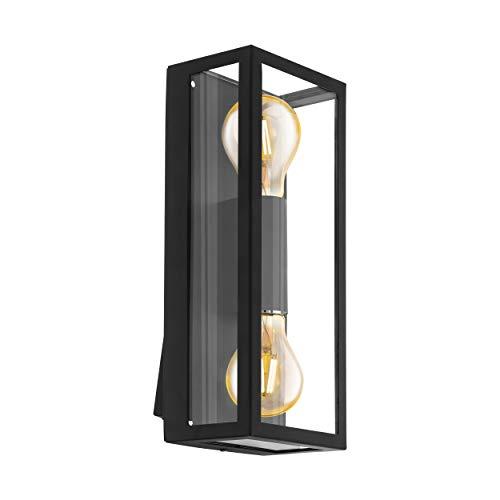 EGLO Außen-Wandlampe Alamonte 1, 2 flammige Außenleuchte, Wandleuchte aus Stahl verzinkt, Glas: klar, Fassung: E27, IP44, schwarz