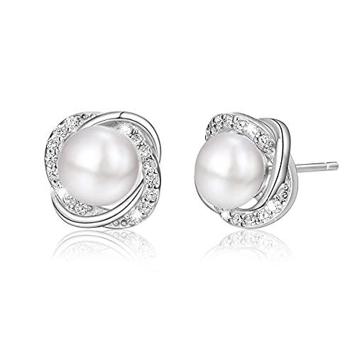 Juego de pendientes de perlas para mujer, plata de ley 925, regalo para San Valentín