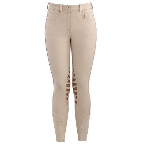 HR Farm Horse Riding Women's Knee Patched Silicone Grip Breeches (Beige, 30)