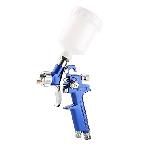 HVLP Pistola Rociadora,Pulverizador de Pintura Neumático Universal Pistola de Pulverización de Aire por Gravedad con Taza de 125 ml de Boquilla Ajustable Conector(0.8mm)(1.0mm)