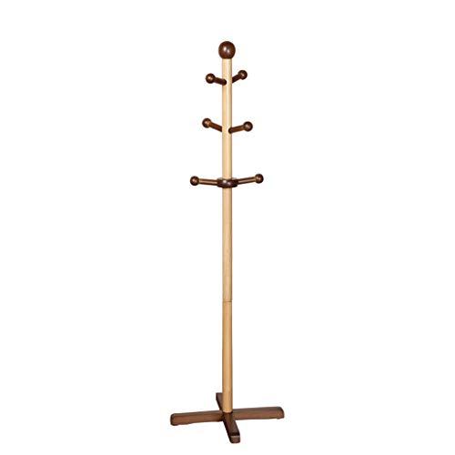QIFFIY Perchero de madera maciza, con 6 ganchos, color miel