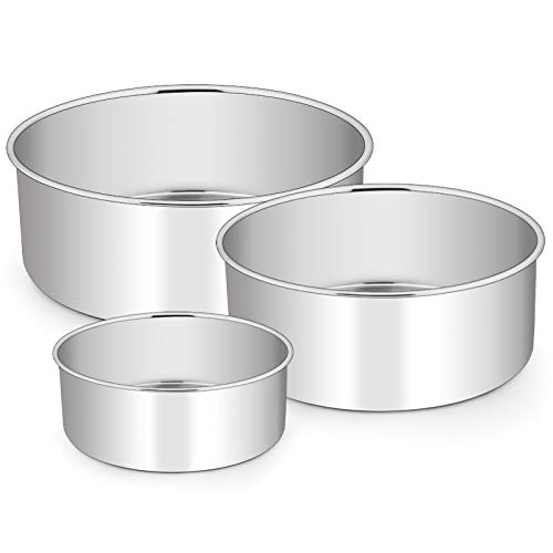 Cake Pans Set of 3 (4''/6''/8''), E-far Stainless Steel Round Cake Baking Pans, Deep Metal Cake Tins for Small Layer Cake Wedding Birthday, Non-toxic & Dishwasher Safe, Mirror Finish & Straight Side