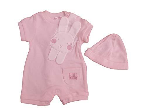 avec des étiquettes. Petit prématuré prématuré bébé lapin ou lapin barboteuse & chapeau vêtements - Rose - S