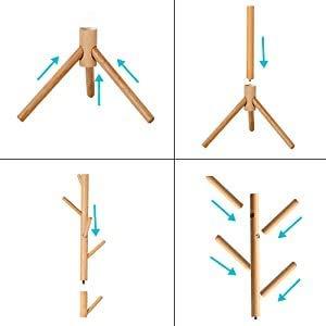 Nortrum木製ポールハンガーコートハンガーハンガーラック木製コート掛けかばん掛け帽子掛けスタンド枝型設計組立て簡単省スペース安定性収納力抜群頑丈衣類収納玄関収納