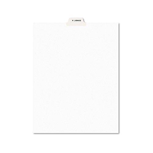 Avery 11947 Avery-Style Preprinted Legal Bottom Tab Divider, Exhibit H, Letter, White, 25/PK